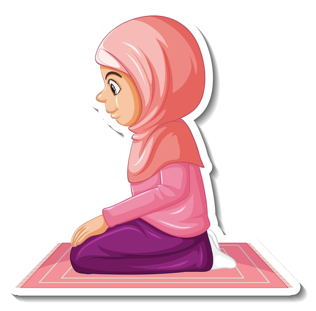 Eine aufklebervorlage mit einem muslimischen mädchen, das auf einem teppich sitzt und betet