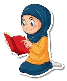 Eine aufklebervorlage mit einem muslimischen mädchen, das ein koranbuch liest