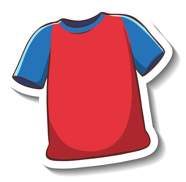 Eine aufklebervorlage mit einem roten t-shirt isoliert