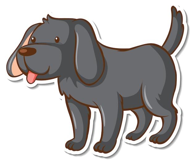 Eine aufklebervorlage mit einem schwarzen hund-cartoon-charakter