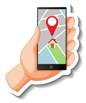 Eine aufklebervorlage mit einem smartphone, das einen pin auf der karte anzeigt