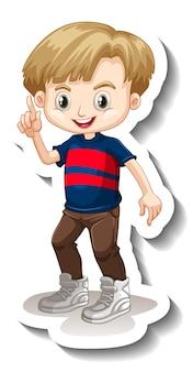 Eine aufklebervorlage mit einem süßen jungen-cartoon-charakter