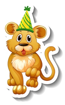 Eine aufklebervorlage mit einem weiblichen löwen mit partyhut