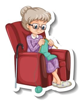 Eine aufklebervorlage mit einer alten frau, die strickt und auf dem sofa sitzt