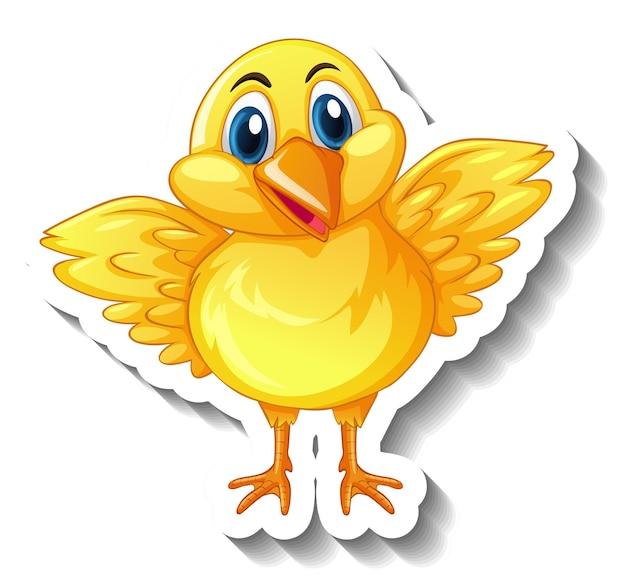 Eine aufklebervorlage mit einer baby-hühnchen-cartoon-figur