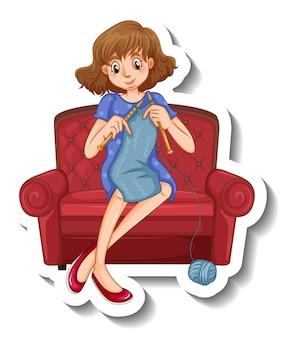 Eine aufklebervorlage mit einer frau, die strickt und auf dem sofa sitzt