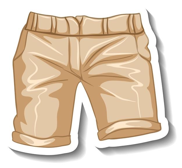 Eine aufklebervorlage mit einer lässigen shorts isoliert