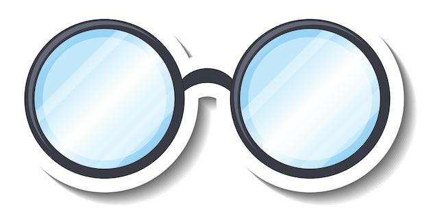 Eine aufklebervorlage mit einer runden brille Kostenlosen Vektoren
