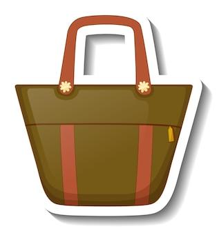 Eine aufklebervorlage mit einer unisex-handtasche isoliert