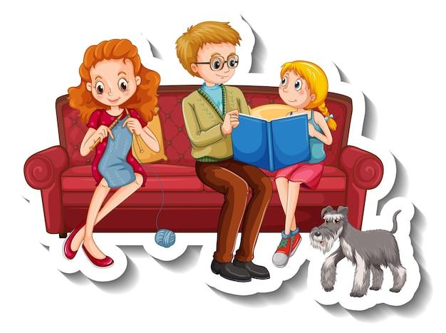 Eine aufklebervorlage mit familienmitgliedern, die verschiedene aktivitäten auf dem sofa ausführen