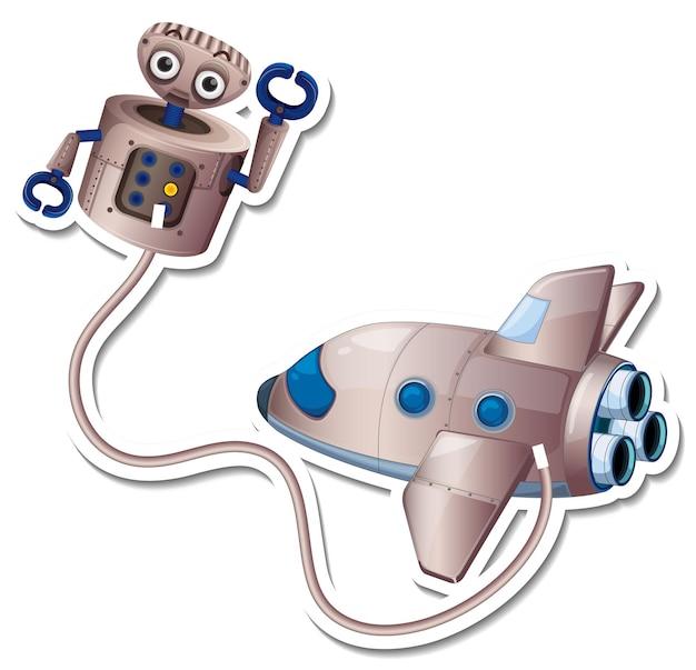Eine aufklebervorlage mit flugzeug und roboter isoliert