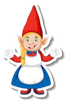 Eine aufklebervorlage mit gartenzwerg oder zwerg-cartoon-charakter