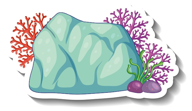 Eine aufklebervorlage mit isoliertem korallenmeer-element
