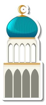 Eine aufklebervorlage mit isoliertem moscheegebäude