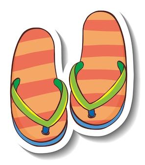 Eine aufklebervorlage mit isolierten sommer-flip-flops