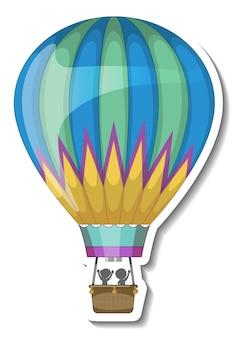 Eine aufklebervorlage mit isolierter heißballonluft Kostenlosen Vektoren