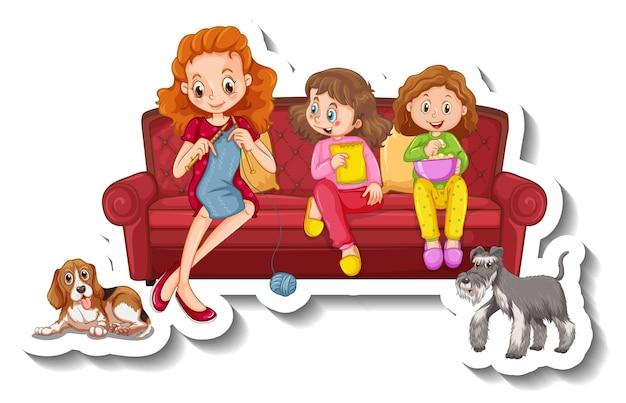 Eine aufklebervorlage mit kleinen familienmitgliedern, die auf dem sofa sitzen