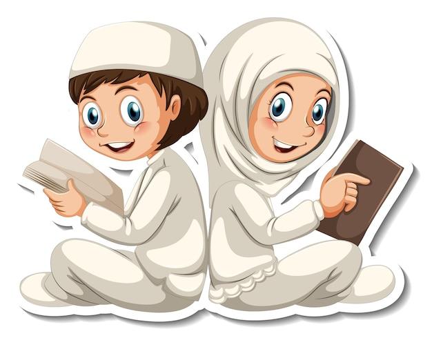 Eine aufklebervorlage mit muslimischen jungen und mädchen, die ein buch lesen