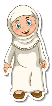 Eine aufklebervorlage mit muslimischer mädchen-cartoon-figur