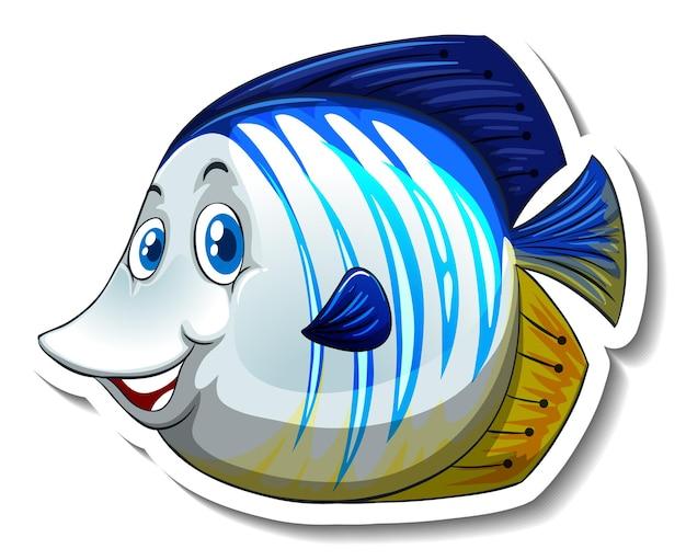 Eine aufklebervorlage mit niedlicher fisch-cartoon-figur