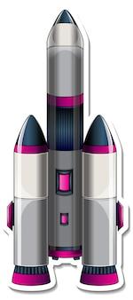 Eine aufklebervorlage mit rocket ship cartoon isoliert