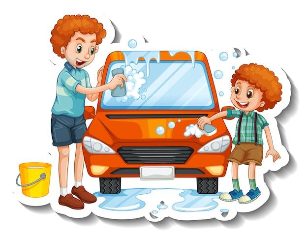 Eine aufklebervorlage mit vater, der mit seinem sohn auto wäscht