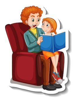Eine aufklebervorlage mit vater und tochter, die zusammen ein buch lesen reading Kostenlosen Vektoren