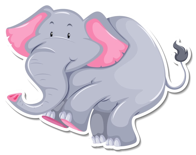 Eine aufklebervorlage von elefanten-cartoon-figur