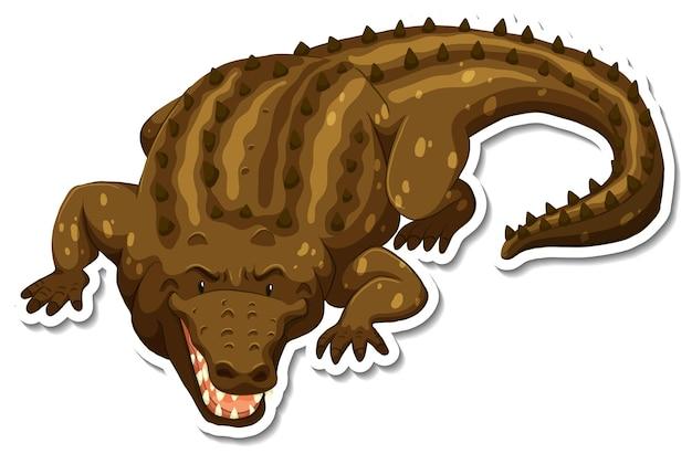 Eine aufklebervorlage von krokodil-cartoon-figur