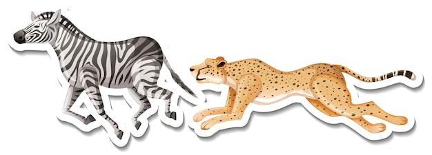 Eine aufklebervorlage von leopard und zebra