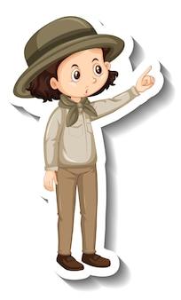 Eine aufklebervorlage von mädchen-cartoon-figur