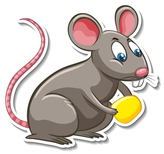 Eine aufklebervorlage von ratten-cartoon-figur