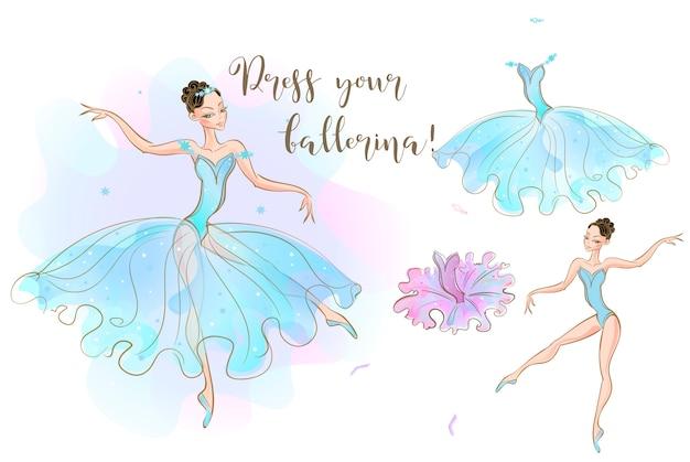 Eine ballerina-puppe und eine reihe von kleidern aus zwei kleidern.