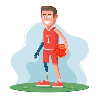 Eine behinderte person ohne beine und arme benutzt prothesen und spielt basketball. flacher charakter.