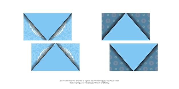 Eine blaue visitenkarte mit einem abstrakten weißen muster für ihre kontakte.