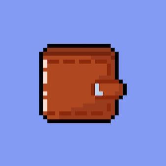 Eine braune geldbörse im pixel-art-stil