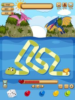 Eine brettspielvorlage für schlangen