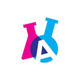 Eine buchstaben-labor-laborglas-becher-logo-vektor-symbol-illustration