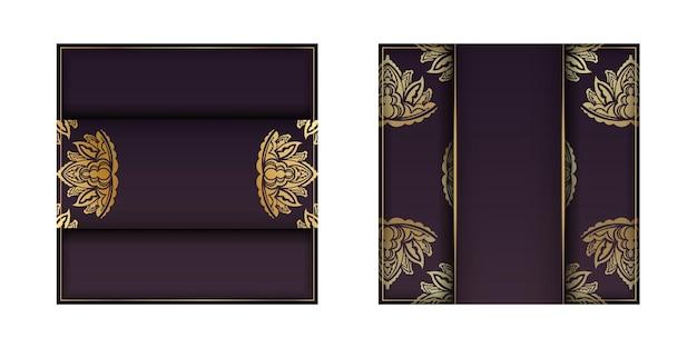 Eine burgunderkarte mit einem goldmandalamuster, das für typografie vorbereitet wird.