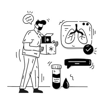 Eine charakterillustration des glyphenvektors für bluttests
