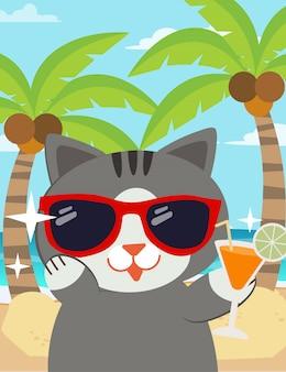 Eine charakterkarikatur der glücklichen katze mit sonnenbrillen am strand