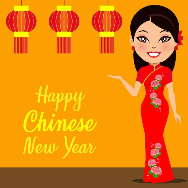Eine chinesische frau, die ein frohes chinesisches neues jahr wünscht