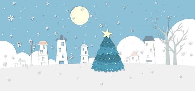 Eine dorfillustration des verschneiten winters mit einem großen weihnachtsbaum.