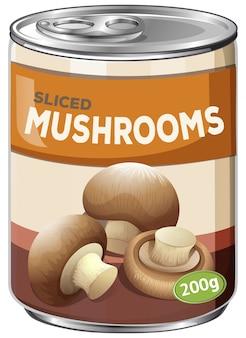Eine dose geschnittene pilze