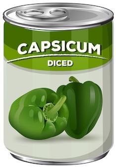 Eine dose gewürfelter capsicum