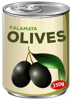Eine dose kalamata oliven