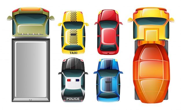 Eine draufsicht auf die geparkten fahrzeuge