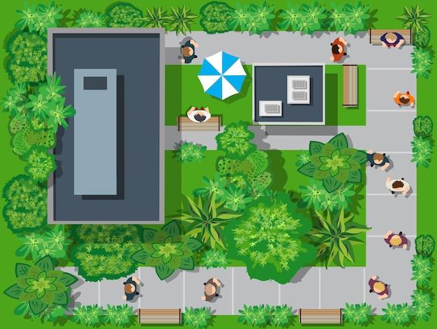 Eine draufsicht von oben ist ein stadtplan eines stadtparks mit straßen und bäumen, menschen und bänken. stock vektor-illustration von design und kreativität.