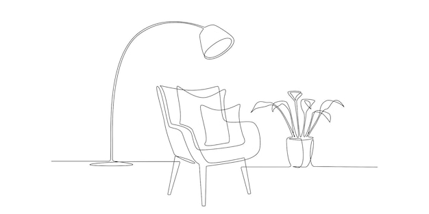 Eine durchgehende strichzeichnung eines modernen sessels, einer pflanze und einer lampe. stilvolle skandinavische möbel im schlichten linearen stil. bearbeitbare strichvektorillustration