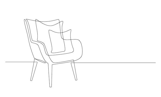Eine durchgehende strichzeichnung eines sessels mit kissen. stilvolle skandinavische möbel im schlichten linearen stil. bearbeitbare strichvektorillustration